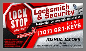 Lock Stop and Key business card