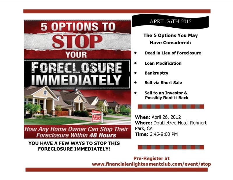 5 Options To Stop Your Foreclosure Immediately Events